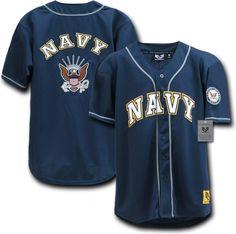 RapDom US Navy Logo Mens Baseball Jersey [Navy Blue - L]