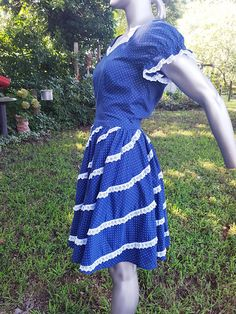 50s Dresses, Dance Dresses, Vintage Dresses, Navy And White, White Lace, Farmer's Daughter, Modern Wardrobe, Vintage Costumes, Etsy Vintage