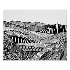 Black And White Drawing, Black And White Abstract, Zentangle Patterns, Zentangles, Doodle Art Posters, Mountain Drawing, Classroom Art Projects, Doodle Coloring, Zen Doodle