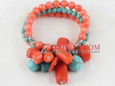 colore turchese | elastico stile 7,5 pollici corallo rosa e bracciale in turchese