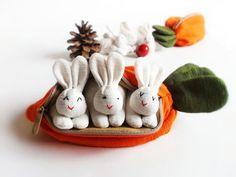 Stuffed bunny, Bunny plush toy, Bunny fabric, Bunny set, Bunny in carrots, Home decor, Children's gift