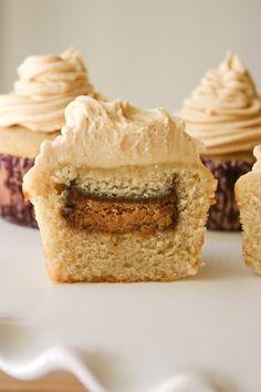 Vanilla Bean Cupcakes (with a peanut butter cup baked inside!) & Peanut Butter Buttercream.
