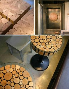 Beautiful recycled wood stumps for table tops
