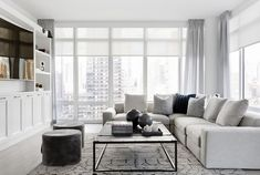 Explore an apartment redesign at One Fifth Avenue in New York city designed by Tamara Magel. Get an inside like at this ultra high-end luxurious NYC apartment building. For more home tours and design ideas go to Domino. Condo Living, Living Room Sofa, Home And Living, Living Room Decor, Small Living, Clean Living, Living Area, Living Rooms, Modern Room Design