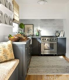 Gray Kitchen- add legs to bottom of cabinets.