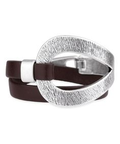 Look at this Silvertone & Brown Loop Leather Wrap Bracelet on #zulily today!