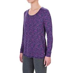 Vogo New Dot Space-Dyed Shirt - Long Sleeve (For Women) in Purple/Black/White - Closeouts