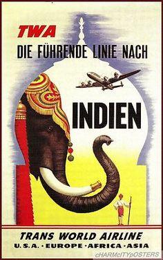 TWA - Indien 1950s (India) Vintage Travel Poster