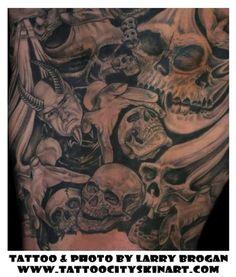 Skull nightmare tattoo by Larry Brogan of Lockport, IL