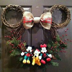 Mickey, Goofy and Minnie's front door decoration