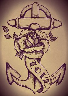 traditional tattoo anchor and rose | Flickr - Photo Sharing!