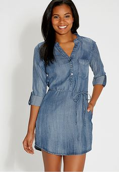 chambray shirtdress with tie waist (original price, $44) available at #Maurices