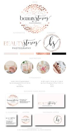Rose Gold Confetti Logo Design, Rose gold Branding kit Logo Design Premade Branding Package, stamp, Photography Logo, watermark