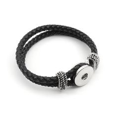 Snap! Leather/Metal Base for Snap Bracelet 21cm Black Nickel 1pc Off Price Policy - 4005-0400-002BLK - Club Bead Plus