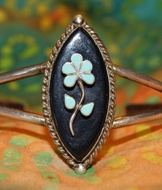 TRADITIONAL OLD ZUNI Sterling Silver Inlay Split by AuctionHunter, $95.00