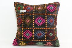 16x16 Turkish Kilim Pillow Multicolour pillow Embroidered Kilim Pillow floor pillow Cushion Cover natural pillow throw pillow SP4040-1061