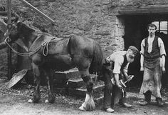 Old photograph of a Blacksmith in Perthshire, Scotland.