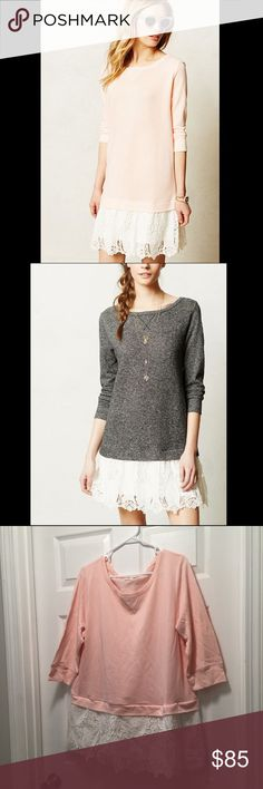 """✨RARE! ✨Anthropologie Synoptic Layered Tunic SOLD OUT and selling for approx $175 on EBay!! In excellent condition. Smoke free home. We're loving laidback twofers (like this tomboy-meets-girl, lacy sweatshirt version from Lili's Closet) for their ability to capture the highs and lows, simplicity and personality of an outfit in a single piece.  By Lili's Closet Pullover styling Cotton, polyester; cotton, polyester lining Machine wash Regular: 35.5""""L Petite: 33.75""""L Imported Style No…"""