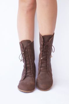 Image of Lace up boots - Deco in Nubuck Brown