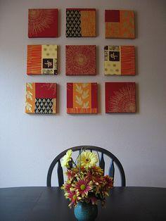 wall art using fabric samples
