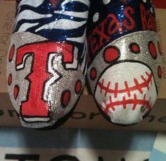 Texas Ranger Toms by Karen Laughlin want a pair Hand Painted Toms, Painted Shoes, Texas Rangers, Rangers Baseball, Baseball Mom, Football, Material Girls, Clothes Horse, Silver Glitter