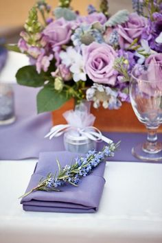 Elegant spring wedding ideas--Need to get lavender linens. Maybe something patterned (white lavender) and then solid lavender for a contrast. Lavender Wedding Decorations, Lavender Wedding Theme, Purple Wedding Centerpieces, Fall Wedding Colors, Wedding Flowers, Spring Wedding, Lavender Weddings, Tulip Wedding, Photos Booth