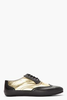 COMME DES GARÇONS HOMME PLUS Black & Metallic Gold Leather Wingtip Brogue Sneakers