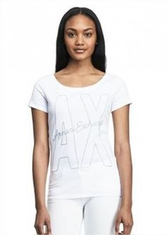 Camiseta Armani Exchange Women's Exploded Log AX Tee White E5X299 #Camiseta #Armani Exchange