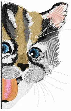 Funny kitty free embroidery design - Animals free embroidery designs - Machine embroidery community