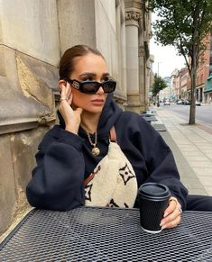 Follow our Pinterest Zaza_muse for more similar pictures :) Instagram: @zaza.muse |  Sweats Coffee Break, Coffee Time, Yves Saint Laurent, Sweatshirt Outfit, Autumn Winter Fashion, Winter Style, Louis Vuitton Speedy Bag, Straw Bag, Sweatpants