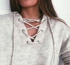 Sweater: sweatshirt swetshirts grey grey girl brunette strappy comfy shirt gry wool fashion lacing