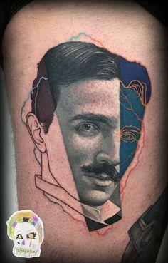 Contemporary Nikola Tesla portrait mashup tattoo on the right thigh. Tattoo Artist: Rafael Makarov · Dzikson Wildstyle