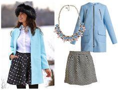 Copia el look de Silvia Navarro, blogger de #1sillaparamibolso. Abrigo azul pastel de La Morena, falda de @klingloves y collar de Quintana.