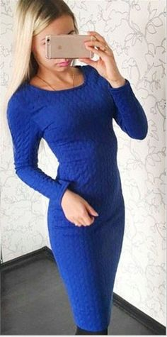 Long Sleeve Solid Color Bodycon Dress Crochet Romper, Cold Weather Outfits, Bodycon Dress, Rompers, Chic, Lady, Long Sleeve, Womens Fashion, Skirts