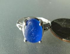 HL Sea Glass & Beach Glass Jewelry, a beautiful cobalt blue sea glass sterling silver ring!