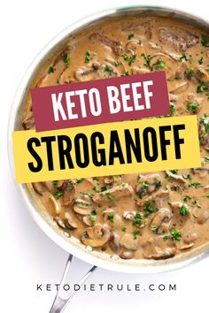 Beef Stroganoff Recipe with Sour Cream - Low-Carb Keto Meal Try this low-carb Keto Beef Stroganoff recipe. It taste delicious. The tender beef cooked beautifully in a creamy sauce and served over a bed of Zucchini noodles pasta or cauliflower rice. Low Carb Recipes, Beef Recipes, Cooking Recipes, Healthy Recipes, Cooking Food, Healthy Cooking, Stroganoff Recipe, Beef Stroganoff, Gastronomia