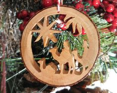 Wise men Christmas Ornament - Natural Wood Slice