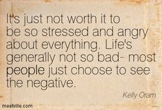 Kelly Oram: It's just not worth it to be so stressed and angry about everything. Life's generally not so bad- most people just choose to see the negative. people. Meetville Quotes