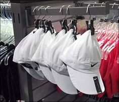 Caps Clothes Pin to Faceout to become the vehicle for merchandising among apparel instead of from a separate department. Clothes Clips, Hat Stores, Store Fixtures, Outfits With Hats, Summer Hats, Sun Hats, Visual Merchandising, Well Dressed, Baby Strollers