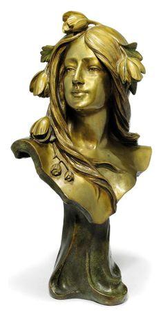 "Gilt-bronze bust by Italian artist Artistide de Ranieri, ca.1900, 57 cm (22.4"")"