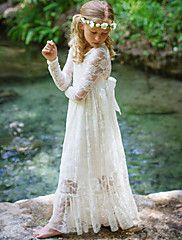 Fancy Ivory White Lace Boho Rustic Flower Girl Dress Year Old Long Sleeve Maxi, Maxi Dress With Sleeves, Tulle Dress, Lace Dress, Flower Girl Dresses Boho, Tulle Flower Girl, Baby Flower, Girls Dresses Online, Boho Girl