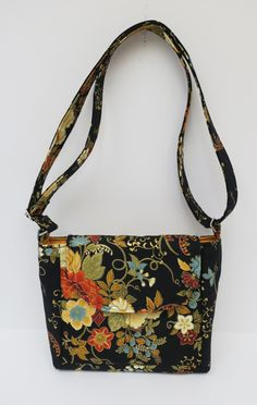 Black Multi Gold Floral Bag, Cross Body Purse, Womens Gifts, Handmade Purse, Small Bag, Handbag Purse, Tote Bag, Kindle Holder, Fabric Purse by JustBeautiful161 on Etsy