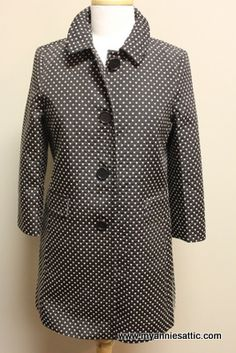 Ann Taylor LOFT jacket, size 6 petite NEW with tags, retail $128 Black with ivory polka dots 3/4 sleeves, 4 buttons down front Side pockets $44