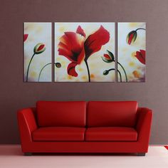 'Flower' 3-piece Gallery-wrapped Hand Painted Canvas Art Set | Overstock™ Shopping - Top Rated Canvas
