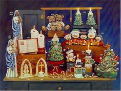 Clay Magic pg 2. Mary & Jesus candles snowmen candles small Christmas trees
