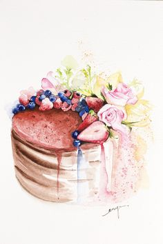 Chocolate forest cake commissioned by Indonesia cake designer Maura Sweet Drawings, Art Drawings, Dessert Illustration, Chibi Food, Watercolor Food, Forest Cake, Pastry Art, Food Painting, Cake Business