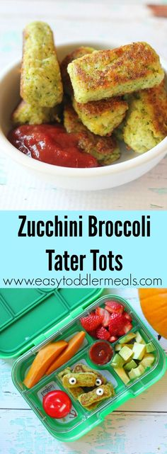 Why not try these Zucchini Broccoli Tater Tots when you want to get some veggies into your kids? They're packed with nutrients and so, so tasty, they'll never know they're eating vegetables. Great for daycare lunchboxes, lunch, dinner or a snack! The perfect toddler finger food #easytoddlermeals #hiddenveggies #lunchbox