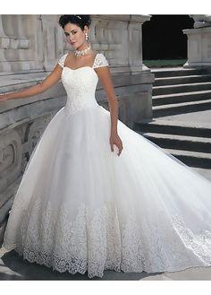 Elegant Satin Ball Gown Cap Sleeve Wedding Gown