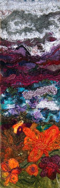 Upcycled & Needle Felted Wall Hanging by Su @ Dolyfelin Designs