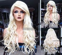 f5fcb0e32ce USA Human Hair BLEND Platinum Blonde Swiss LACE FRONT Princess Cosplay Wig